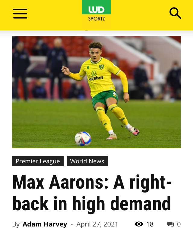 Norwich football player Max Aarons
