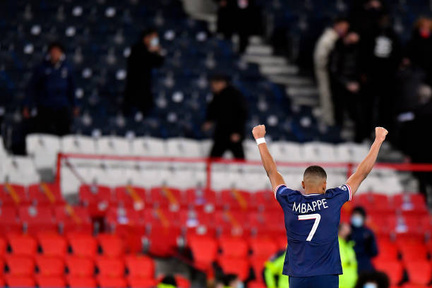 Kylian Mbappe celebrates as PSG secure their place in the Champions League semi-final