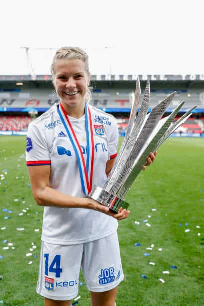 Lyon superstar Ada Hegerberg, sadly she won't fit feature against PSG tomorrow due to her horror injury over eighteen months ago (Photo by Catherine Steenkeste/Getty Images)