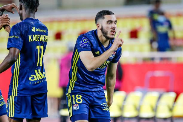 Rayan Cherki celebrating his late winner for Lyon against Monaco in their major Ligue 1 clash