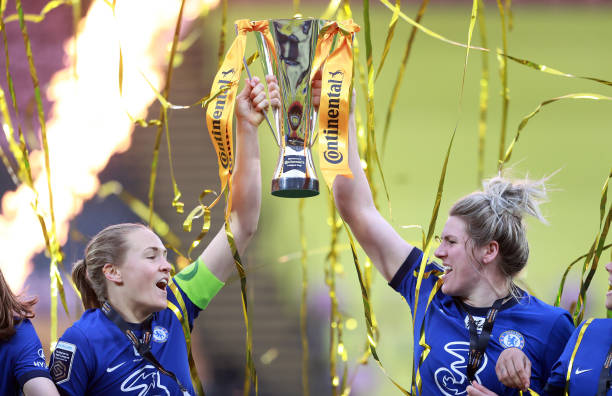 Chelsea centre-backs Magdalena Eriksson and Millie Bright lift the Conti Cup trophy