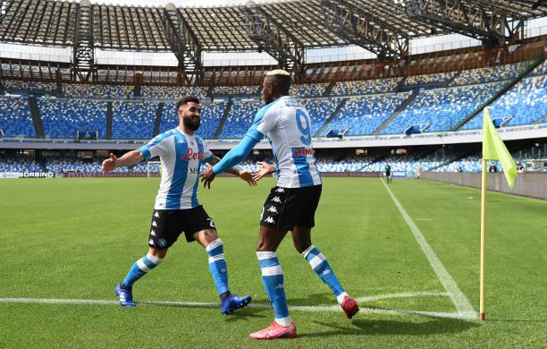 Lorenzo Insigne and Victor Osimhen celebrate a Napoli goal versus Cagliari