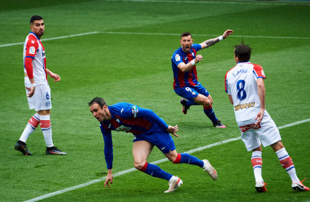Eibar's Kike Garcia runs away to celebrate one of his three goals versus Alaves in La Liga