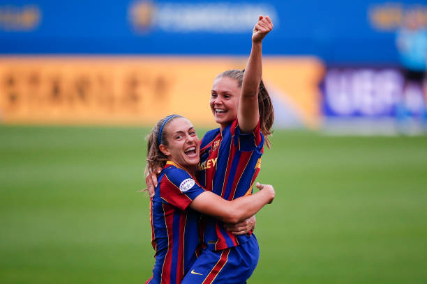Alexis Putellas (left) and Lieke Martens (right) celebrate the Barcelona winner versus PSG in the Champions League