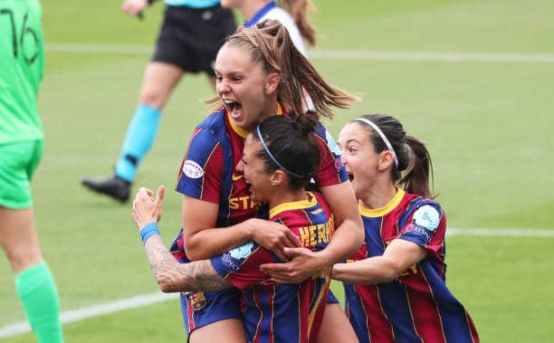 Lieke Martens celebrating one of her two goals for Barcelona in the UWCL semi-final victory over PSG (Photo by Urbanandsport/NurPhoto via Getty Images)
