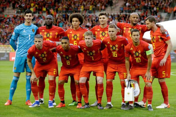 Belgium team ahead of a Euro 2020 qualifier versus Scotland (Photo by Soccrates/Getty Images)