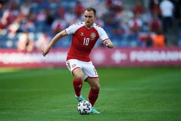 Christian Eriksen of Inter in action for Denmark (Photo by Jan Christensen / FrontzoneSport via Getty Images)