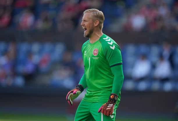 Danish goalkeeper Kasper Schmeichel will compete with club teammate Youri Tielemans for group B glory (Photo by Ulrik Pedersen/NurPhoto via Getty Images)